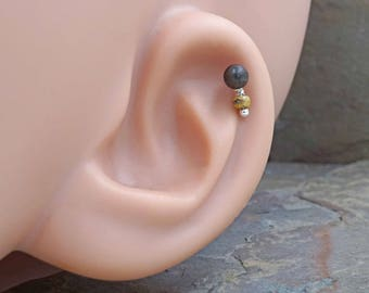 Black Ebony Wood Cartilage Earring Tragus Helix Piercing