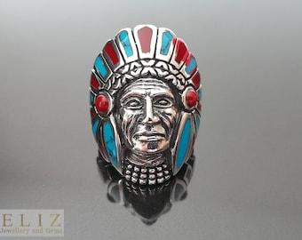 925 Sterling Silver American Indian Navajo Chief  biker goth punk rocker Ring 7'    23.6 GRAMS