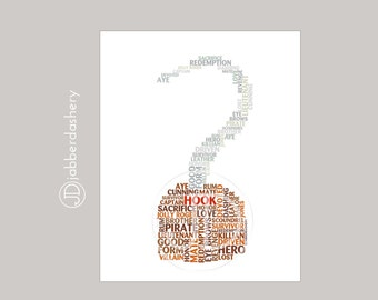 Captain Hook Once Upon A Time Typography 8x10 Fairytales, Wordshape, Wordle, Hook, Killian Jones,  Digital Print, OUAT
