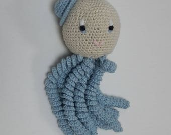Amigurumi Octopus for newborn blue color. Crochet octopus-crochet for baby made in cotton yarn.