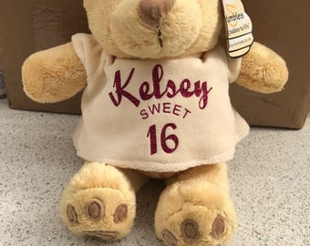 Sweet 16 gift, 16th birthday bear, sweet 16 birthday, birthday bear, personalised birthday gift, personalised birthday bear,
