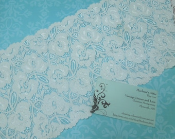 White Stretch lace, 6 inch White Elastic lace, 1 yard, for bridal, baby headband, garter, hair accessories by MarlenesAttic - Item CC5