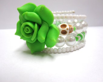 Sugar Skull Bracelet Day of the Dead Jewelry Green White