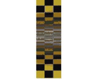 BPOY0001 Optical Yellow Even Count Single Drop Peyote Cuff/Bracelet Pattern