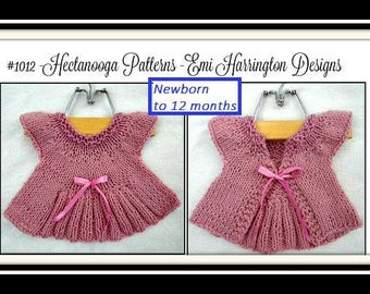 KNITTING PATTERN Sweater,  baby shrug cardigan, Easy beginner, flat knit, baby clothing, Sweater, cardigan, #1012, baby shower gift