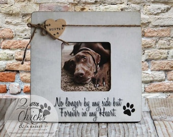 Personalized Pet Picture Frame, Pet Name Frame, Pet Lover Gift Idea, No Longer By My Side But Forever In My Heart, Loss Of A Pet Keepsake