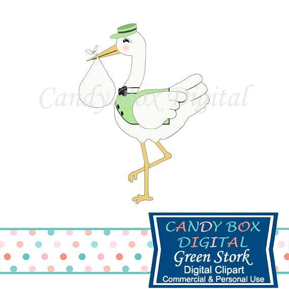 Green Stork Baby Clipart Gender Neutral Clip Art Commercial