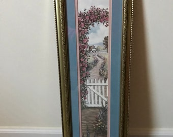 """Glynda Turley Framed Matted Art Work Print Floral Pathway* White Picket Fence* Scenery* 1989**26"""" T X 8"""" W"""