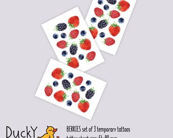 Set of 3 temporary tattoos Berries. Juicy tattoos with fresh blackberries, strawberries, blueberries and raspberries. Berry party favors.