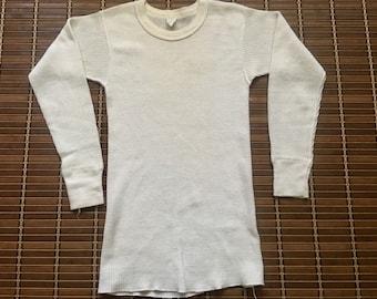 Vintage 1970s 1980s Healthknit Undershirt / Thermal Waffle / Cotton Knit / 70s 80s