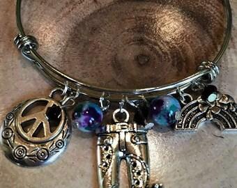 Gorgeous Hippie Peace Love Happiness Adjustable Bracelet