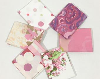 Vintage Sheet Fat Quarter Bundle in Pink Set of 6