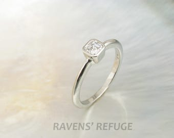 modern asscher engagement ring -- handmade engagement ring with asscher cut solitaire in white gold bezel