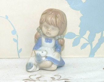 Little Girl and Puppy Ceramic Figurine, Puppy Figurine, China Ornament, Figurine, Collectable, Ornament, niknak, hand painted, housewares