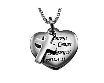 """Sweetheart Necklace """"Christ My Strength"""""""
