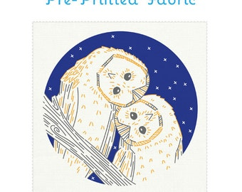NIGHT OWLS pre-printed fabric for embroidery, embroidery pattern, owl embroidery, modern embroidery design by StudioMME