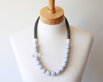 SALE! - Rope Necklace, beaded necklace, everyday necklace, grey necklace, handmade necklace