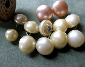 Vintage Womens Faux Pearl Cufflinks, Faux White and Pink Pearl Buttons