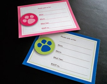 Paw Print Party Invitations