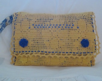 Vintage crocheted sunny yellow clutch bag