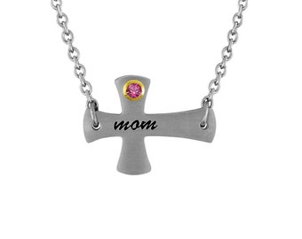 Mother's Day Gift, Mom Cross Necklace for Mom Cross Pendant With Personalized Birthstone In Stainless Steel Cross Necklace, Mom Birthstone