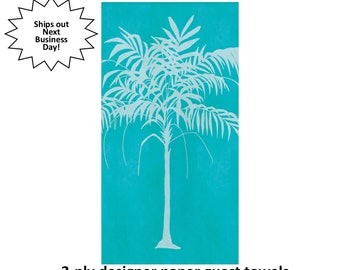 palm tree guest towels, teal and white, tropical napkins, island wedding, summer bridal shower, retirement event, beach house, pool party