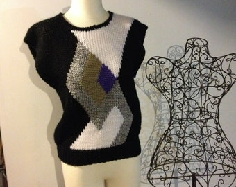 VTG Ribbon Knitted Vest // Geometric Sweater Vest // Bold // Diamonds // Country Concepts