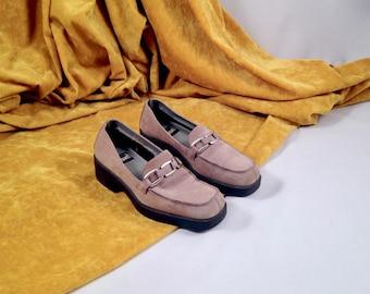 grey leather loafer / square toe / 6 - 36 / chunky loafer / minimalist loafer / block heel loafer / buckle loafer / platform loafer / slipon