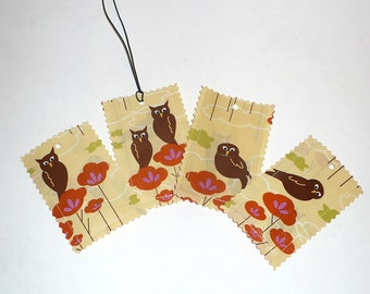 Luggage Tags, Owls, Hot Pink, laminated fabric, Set of 4, Stocking Stuffers, Sample Sale
