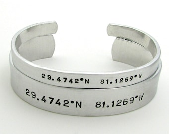 Personalized Cuff Bracelet - His and Her Bracelets - Longitude and Latitude Set of 2 - Mens Bracelet - Matching Couples Jewelry Wedding Gift