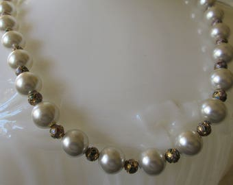 Vintage White Glass Faux Pearl Single Strand Necklace, Small Cloisonne Spacer Beads