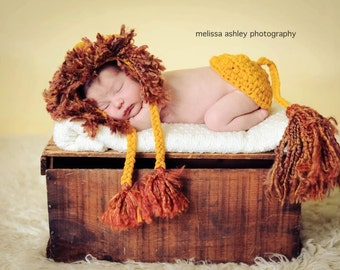 Lion Hat and Tushy Cover Set for Newborns 0-3 months 3-6 months Great Photo Prop First Picture