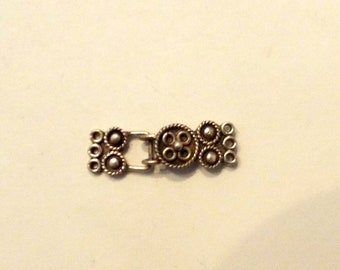 Sterling Silver Clasp- Patterned- Triple Strand
