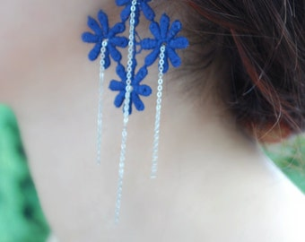 Lace Earrings -- Blue Lace Flowers, Silver Chains, Silver