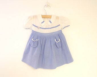 Vintage Baby Clothes, 1940's Marshall Fields Blue and White Polka Dot Baby Girl Dress, Blue Baby Dress, Vintage Baby Dress, Size 9-12 Months