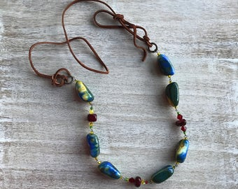 Long necklace with agate. Bohho style. Leather cord and agate with crystals. A gift for her