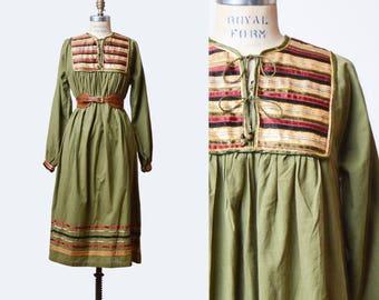 Vintage 70s INDIAN Cotton Metallic Trim Midi Dress / 1970s Ethnic India Hippie Bohemian Tent Dress Small Medium