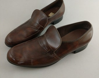 Vintage 70's 80's Men's Dress Shoes Loafers Size 10.5 10 . 5 Brown Faux Leather