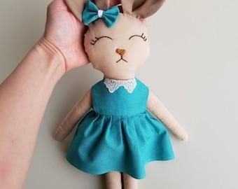Easter Bunny, Stuffed Bunny Girl, Easter Decor Rabbit Toy, Stuffed Rabbit, Stuffed Toy, Nursery, Baby Gift, Nursery Decor, Handmade Bunny
