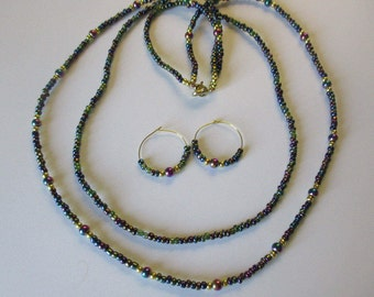 Jewel-tone beaded necklace with matching pierced earrings - # 422