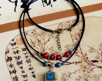 retro ceramic necklace clothes accessories two layers sweater necklace