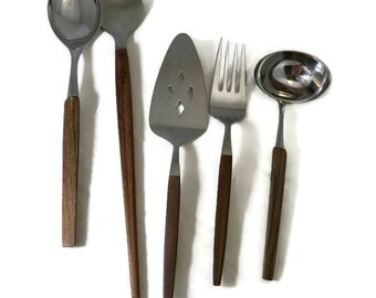 Mid Century Serving Utensils, Wood Handled Stainless Serving Pieces