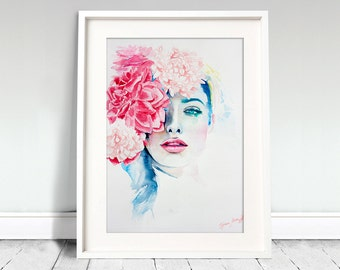 Watercolor Print. Wall art portrait of beautiful girl. Digital print. Love at first sight. Spring flower. Girl in love.