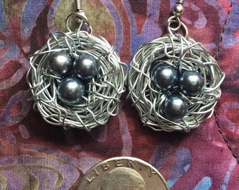 Silver Wire Bird Nest Earrings! Wire Wrapped Bird Nest Earrings. Miscarriage Gift, Baby Shower Gift.