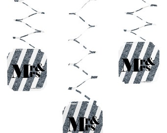Set of 6 Mr. and Mrs. - Silver Hanging Decorations - Wedding Party Decorations
