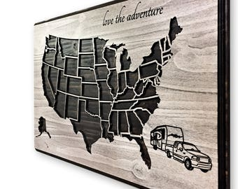 RV Road Trip Map, Camper, Pickup Truck and Camper, Camping Travels, Push Pin map, Map to mark travels, US Map Art, United States of America