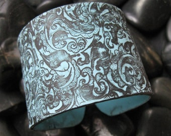Turquoise cuff bracelet  Asian style ornate black design, handmade jewelry by theshagbag on Etsy, FREE US SHIPPING