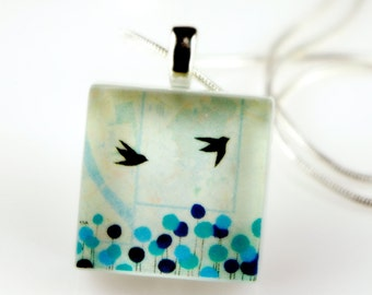 BIRDS Chicadee - Recycled Glass Photo Pendant Necklace