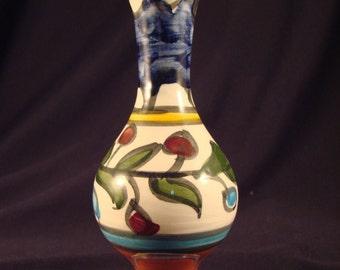 Italian Ceramic Bud Vase Hand Made and Painted