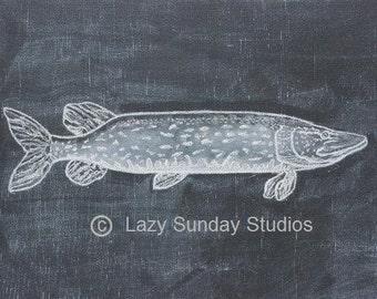 Northern Fish Digital Download Chalkboard Print 5x7 - Woodland Nursery Print- Nature Inspired Art